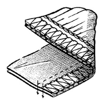 2-needls 5-threads, safety stitch (shirring) *Pleats are made with differential feed